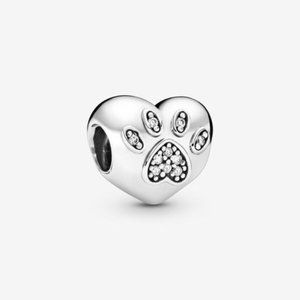 Pandora I Love My Pet Paw Print Heart Charm
